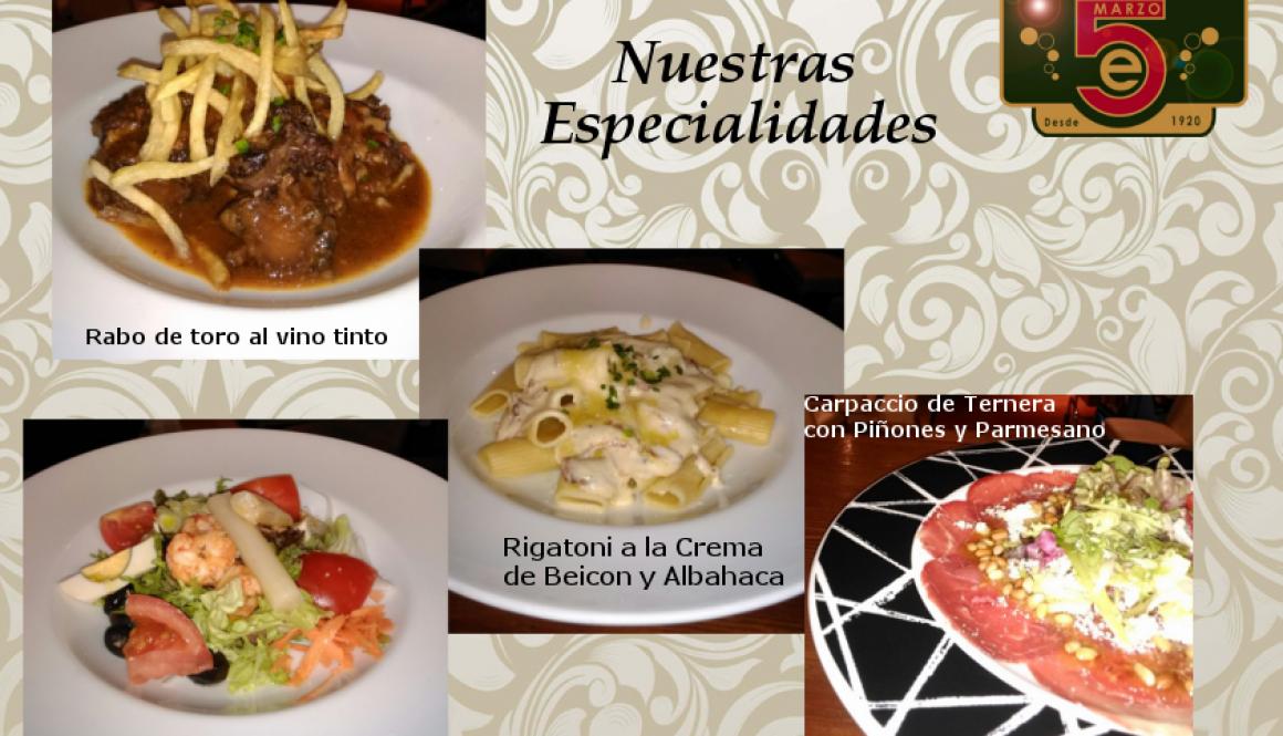 Nuestras especialidades de nuestro menú semanal